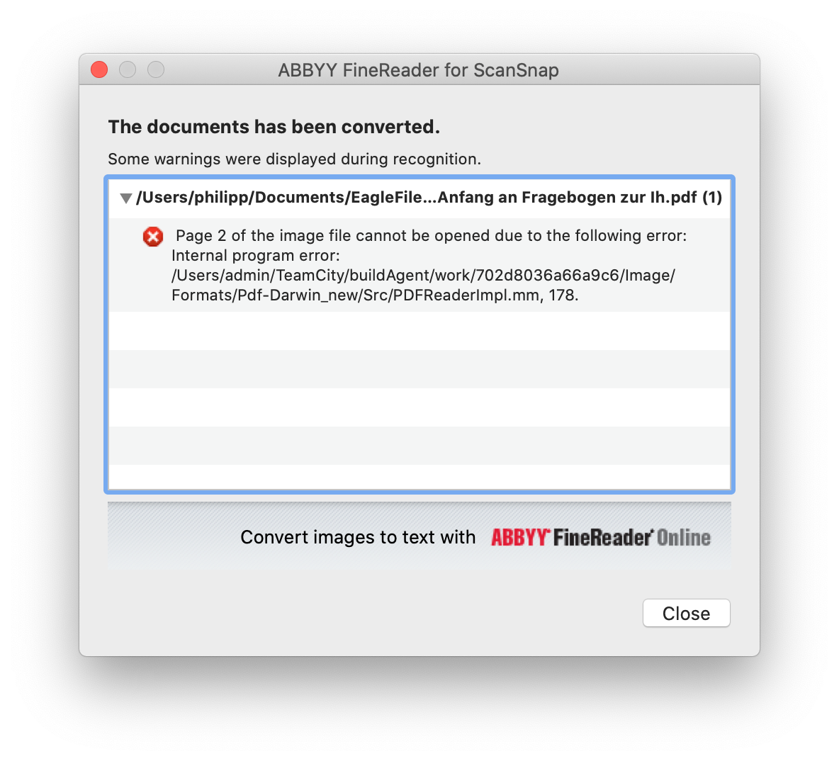 Error shown in ABBYY FineReader