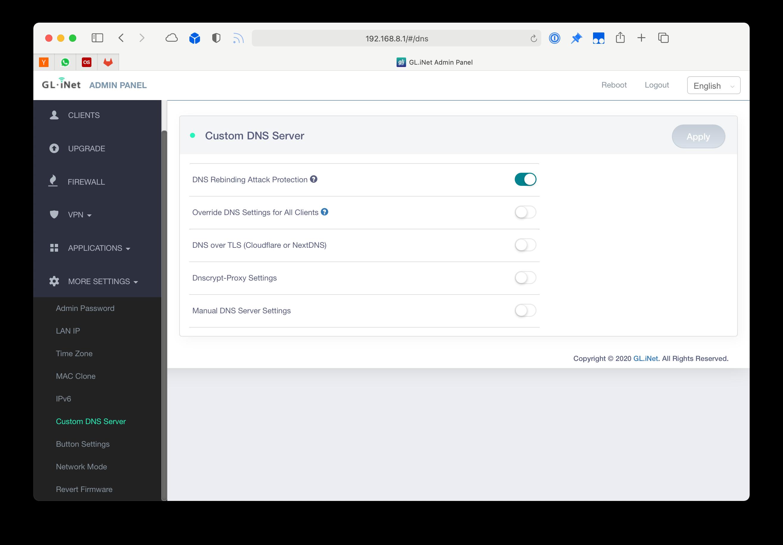 Set custom DNS servers